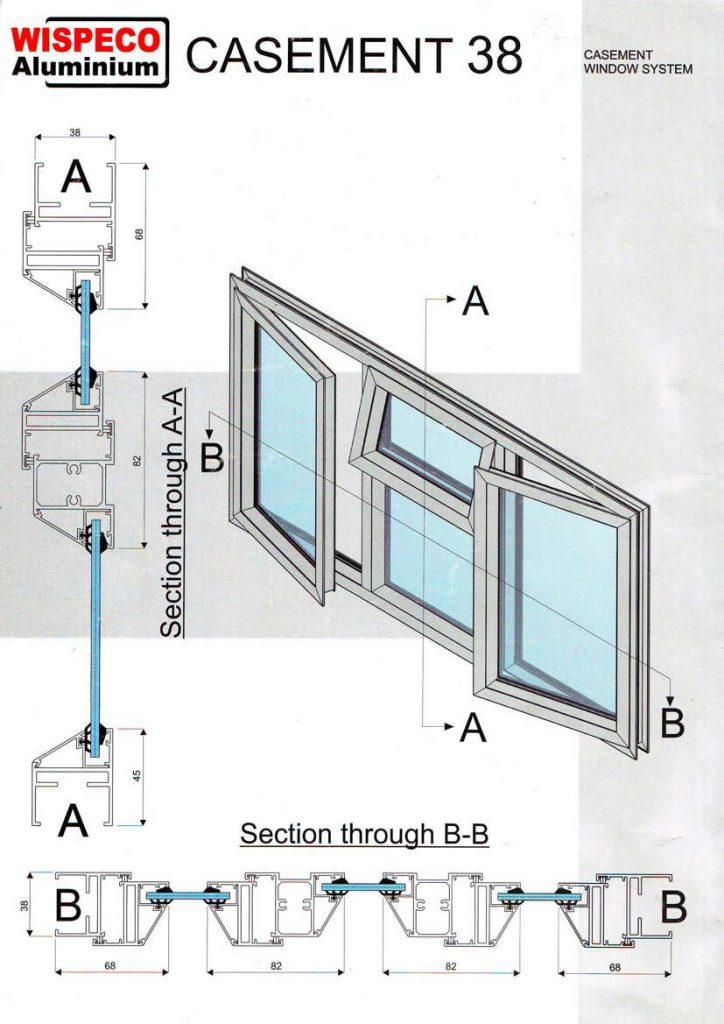 Casement Window Drawing : Technical information eurostyle aluminium